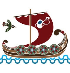 viking ship colored vector image vector image