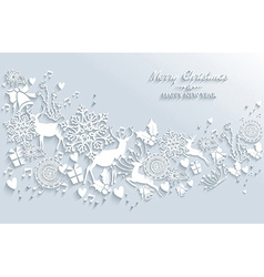 White merry christmas and happy new year vintage vector