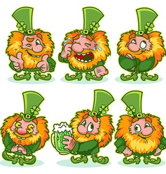 Set of funny red-haired gnome in green costume vector image