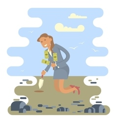 Business woman planting a money tree vector