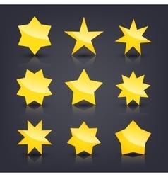 set of yellow glossy stars vector image