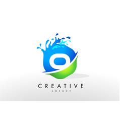O letter logo blue green splash design vector