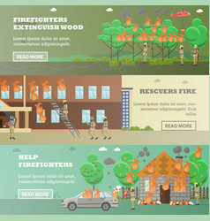 set of fire horizontal banners in flat vector image