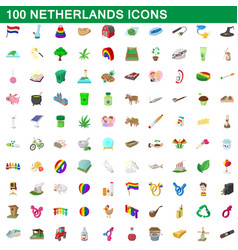 100 netherlands icons set cartoon style vector