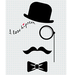 Hipster in bowler hat vector