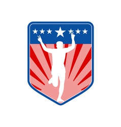 Marathon runner shield vector