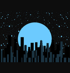 Night city moon and stars panorama of the city vector