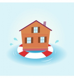 House flood staying afloat vector