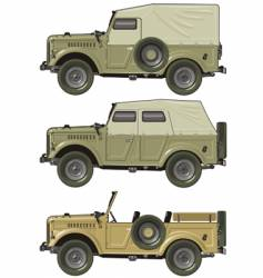 Retro jeep set vector
