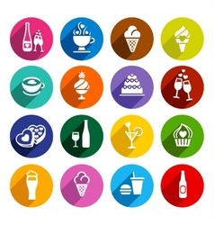 Set flat food icons vector