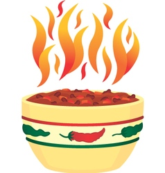 Hot chili in bowl with flames vector