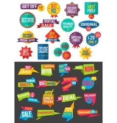 Big collection of sale and discount offers labels vector