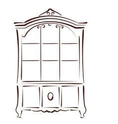 Sketched vintage bookcase vector