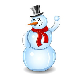 Smiling snowman with red scarf and snowball white vector