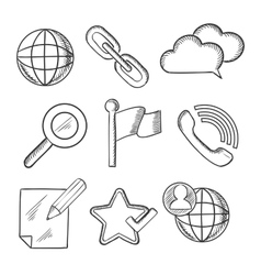 Multimedia and telecommunication icons sketches vector image