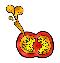Comic cartoon juicy tomato vector