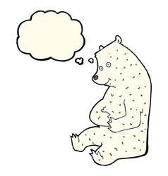Cartoon happy polar bear with thought bubble vector