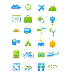 Blue green traveling icons set vector