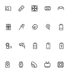 Electronics stroke icons 4 vector