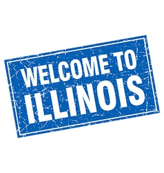 Illinois blue square grunge welcome to stamp vector