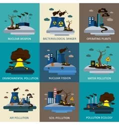 Environmental pollution icon set vector
