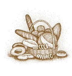 Bakery products hand-drawn vector image vector image