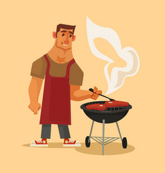 Bbq party happy smiling man character barbecuing vector
