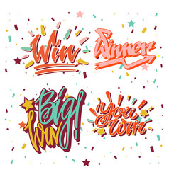 big win winner text writing and lettering vector image vector image