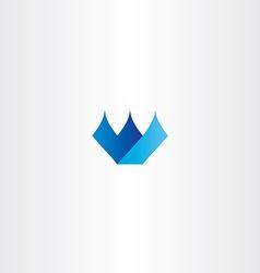 Blue icon w letter w logo design vector