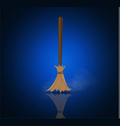 Broom made from twigs on a long wooden handle vector
