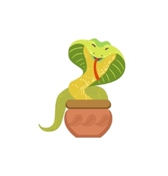 Charmed Cobra Snake Coming Out Of The Basket vector image