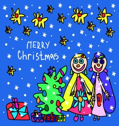 Childrens drawing christmas card vector