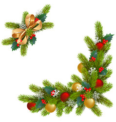 Christmas corner decorations vector
