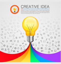 Creative idea lamp with rainbow vector