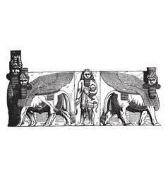 Gateway at khorsabad egypt vintage engraving vector
