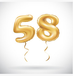 Golden number 58 fifty eight metallic balloon vector