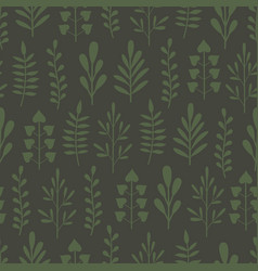Green seamless background with plants vector