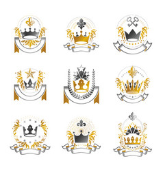 imperial crowns emblems set heraldic coat of vector image vector image