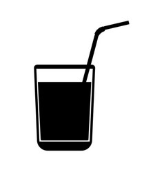 juice glass with drinking straw black color icon vector image