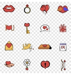 Love set icons vector image vector image