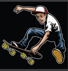 man doing skateboard trick stunt vector image vector image