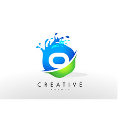 o letter logo blue green splash design vector image