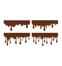 set of melted chocolate drip vector image vector image