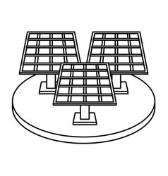 Solar panel silhouette draw vector