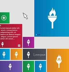 Torch icon sign buttons Modern interface website vector image
