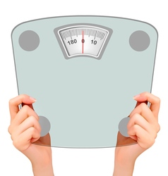 Two hands holding up a scale Concept of diet vector image vector image