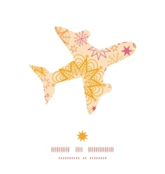 Warm stars airplane silhouette pattern frame vector