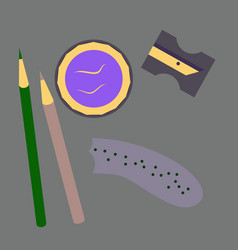 Workplace desk pencils and a sharpener top angle vector