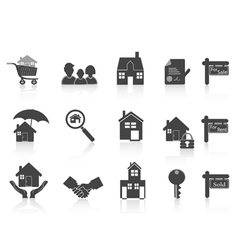 Black real estate icon vector