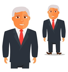 Man in black suit with red tie cartoon character vector